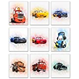 Cars Movie Poster Prints - Set of Nine (8x10) Watercolor Photos - Lightning McQueen Tow Mater Doc Hudson Jackson Storm Cruz Ramirez