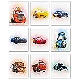 Cars Movie Poster Prints - Set of Nine (8x10) Watercolor Photos - Lightning McQueen Tow Mater Doc Hudson Jackson Storm Cruz Ramirez