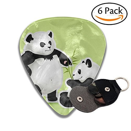 Panda Couple Leather Key Chain Pick Holder - 351 Shape Classic Guitar Picks (6 Pack) For Electric Guitar, Acoustic Guitar, Mandolin, And Bass (0.46mm, 0.71mm, 0.96mm) for $<!--$4.77-->