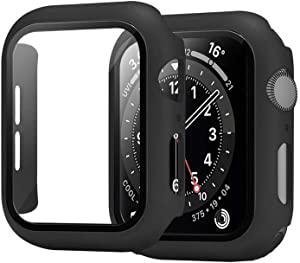Screen Protector Apple Watch Series 3/4/5/6 and SE Slim Guard Thin Bumper Full Coverage Matte Hard Cover Defense Edge for Watch Cellular/GPS (Black) (38mm)