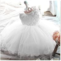 Baby Girl Dresses for Girls 1 Year Birthday Baby Long sleeves Baptism Gown Princess Dress,White,12M