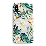 iPhone X Case,iPhone Xs Case,Flowers Coffee Floral Bahama Green Leaves with White & Brown Flowers Aloha Summer Tropical Beach Blossom Roses Girls Women Clear Rubber Case Compatible for iPhone X/Xs