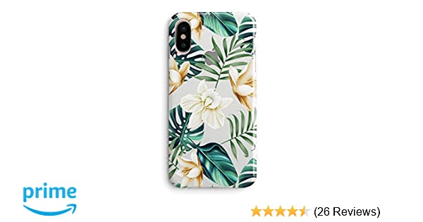 Iphone X Case Iphone Xs Case Flowers Coffee Floral Bahama Green Leaves With White Brown Flowers Aloha Summer Tropical Beach Blossom Roses Girls