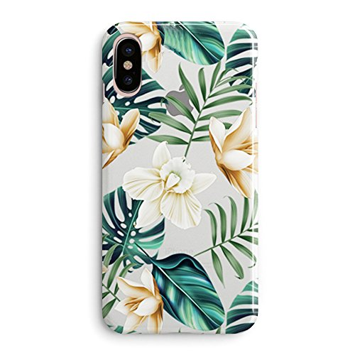 Compatible iPhone x Case,Flowers Coffee Floral Bahama Leaves Aloha Love Summer Tropical Spring Elegant Colored Daisy Beach Japanese Cherry Blossom Roses Girls Womemn Clear Rubber iPhone X Case