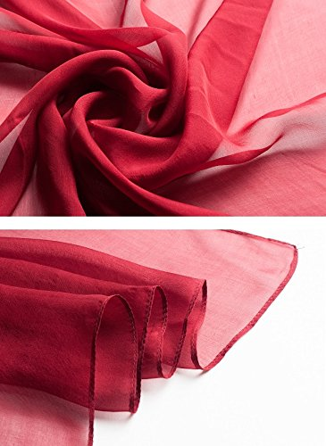 Ysiop Women 100% Silk Solid Scarf Oversize Sunscreen Shawl Infinity Beach Wrap Red