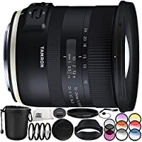 Tamron 10-24mm f/3.5-4.5 Di II VC HLD Lens for Canon EF 11PC Accessory Bundle – Includes 3 Piece Filter Kit (UV + CPL + FLD) + 4PC Macro Filter Set (+1,+2,+4,+10) + MORE