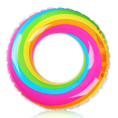 D-FantiX Inflatable Swim Ring Pool Float for Kids Adult Rainbow Swim Tube Float Summer Beach Outdoor Swimming Pool Toys (Small Float)