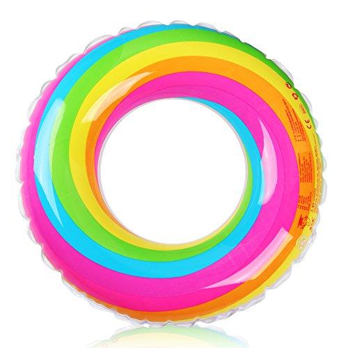 D-FantiX Inflatable Swim Ring Pool Float for Kids Adult Rainbow Swim Tube Float Summer Beach Outdoor Swimming Pool Toys (60cm)