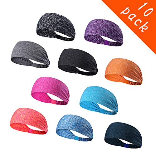 - Epomay 10 Pack Women's Yoga Sport Athletic Workout Headband Sweatband for Running Sports Working Fitness - Elastic Stretchy Moisture Wicking Non Slip Sweatbands Headbands Headscarf for Men & Women