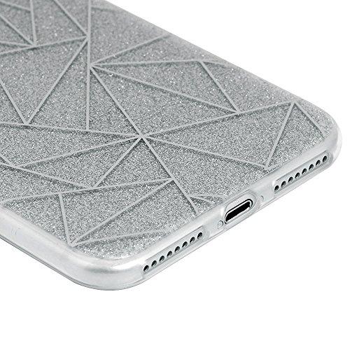 """Mavis's Diary Coque iPhone 7 Plus (5.5"""") TPU&PC Bling Argent Housse de Protection Étui Téléphone Portable Phone Case Cover+Chiffon"""