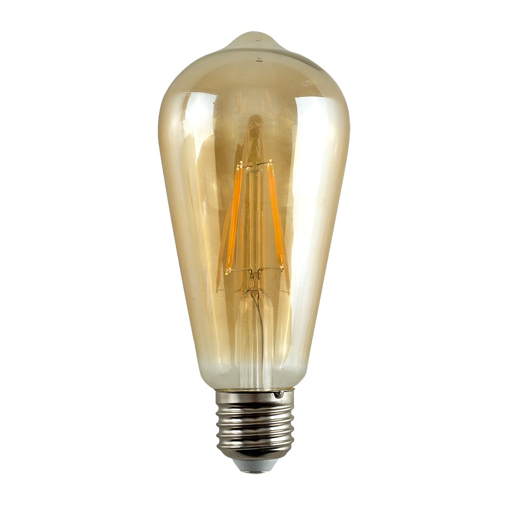 Pack of 3 - Vintage Style LED Technology 4w BC B22 Unique Designer Style Amber Tinted Squirrel Cage Steampunk Light Bulbs [2700K Warm White]  [Energy Class A+] MiniSun