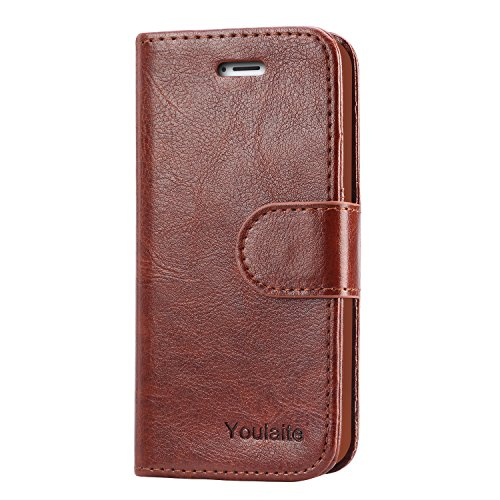 Cheap iPhone 5S Case,iPhone SE Case,Youlaite Premium PU Leather Wallet Phone Cases Flip Book Cover with Kickstand Function [Build in Credit Cards Slot Cash Pocket] for Apple iPhone 5 5S SE (Brown)