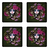 Lunarable Makeup Coaster Set of Four, Calavera Day of The Dead Mexican Sugar Skull Faced Woman with Floral Head Halloween, Square Hardboard Gloss Coasters for Drinks, Multicolor