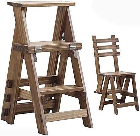 Tres pasos de escalera plegable de madera Escalera - Silla de interior casero escalera de doble uso Escalada heces, Cocina Escalera adulto pequeño taburete Niño, soporte portátil flor / Banco de zapat: