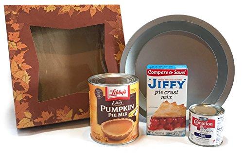 Cooking Gift! Holiday Food Gift Box - Gift Set Collection - Pumpkin Pie Kit - Pumpkin Pie Mix - Pie Pan, Libbys Pumpkin Can, Evaporated Milk, Crust Mix, Pie Box (Easy Pumpkin Pie Kit)