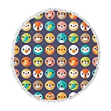 KESS InHouse Daisy Beatrice Smiley Faces Repeat Animal Pattern Round Beach Towel Blanket