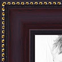 "ArtToFrames Wom-16x20-0066-80886-120-1 Mahagony with Gold Beads Wood Picture Frame, 16 x 20"", Mahogany"