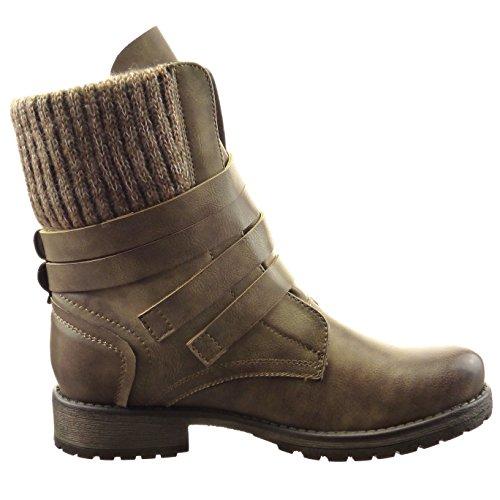 Sopily - damen Mode Schuhe Stiefeletten Combat Boots Multi-Zaum - Khaki