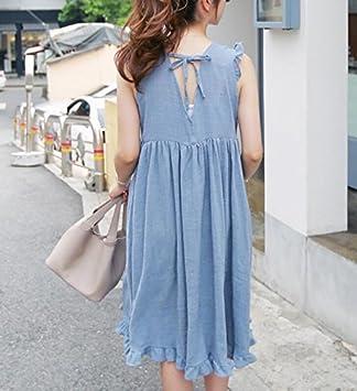 DESY Falda floja del algodón y de lino, vestido cómodo de gran tamaño, vestido