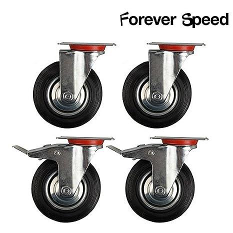 Forever Speed Lote de 4 Ruedas Giratorias Ruedas Pivotantes para Carritos Muebles Ø 125mm 2 con freno y 2 sin freno Carga máxima 100 kg por rollo: ...