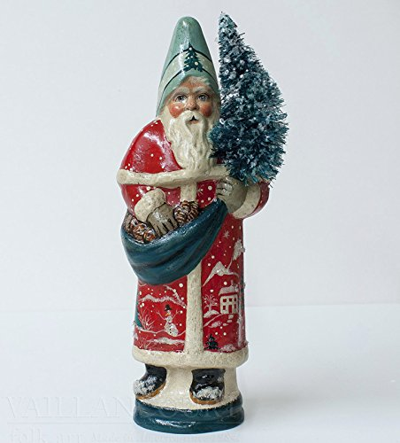 VAILLANCOURT CHALKWARE SANTA - SANTA WITH RED VILLAGE SCENE COAT - GIFT BOXED