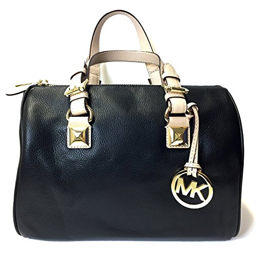 Michael Kors MD Grayson Leather Satchel Handbag (Black) (Kors Bag Cross Michael)