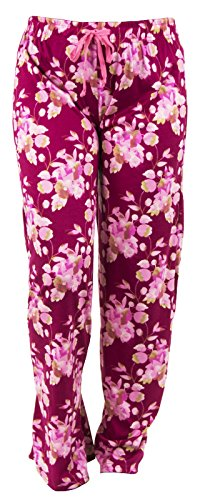 Blossoms Charming (Hello Mello Trendy Womens Loungewear Pants With Luxurious Soft Fabric and Adjustable Elastic Waistband - Cherry Blossom - Medium/Large)