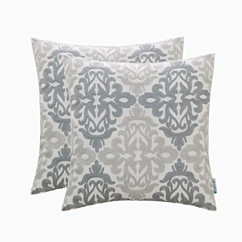 Large Floral Pattern - HWY 50 Set of 2 Grey Pillows Embroidered Decorative Throw Pillows Covers For Couch Sofa 18 x 18 inch, Linen Gray Geometric Throw Pillows Cases For Bed, Euro Decor Floral Pattern Cushion Covers