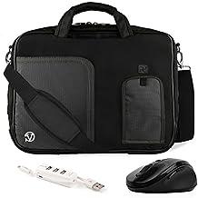 VanGoddy Pindar Jet Black Trim Messenger Bag w/ USB HUB and Wireless Mouse for MSI Phantom GS30 13inch Gaming Laptop