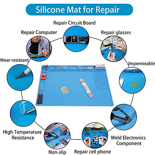 Royace Soldering Mat,Silicone Soldering Mat Magnetic Mat Work Mat Repair Mat Souldering Station Hobby Organizer for Electronic,Heat Resistant Pad 932°F for Soldering Station Iron 13.8 x 9.8(in)