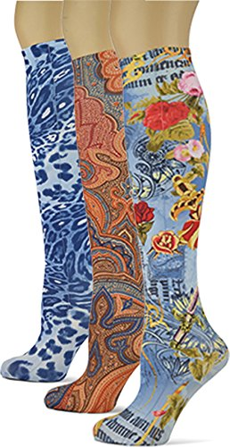 Knee High Trouser Socks w/Colorful Printed Patterns - Made in USA by Sox Trot (3 Denim Compliments)
