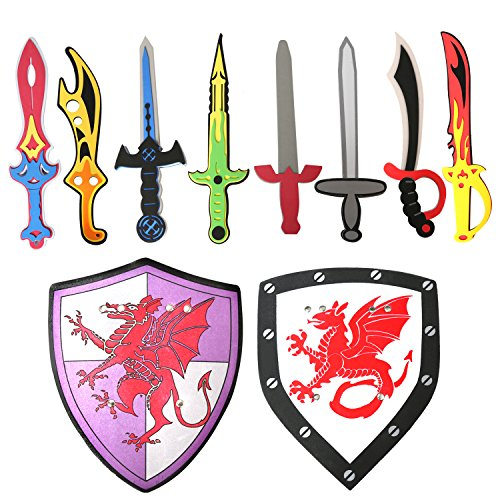 Rainbow yuango Pack of 10 Assorted Foam Sword and Shield Ninja Warrior Weapons Toy Set Pretend Playset for Kids