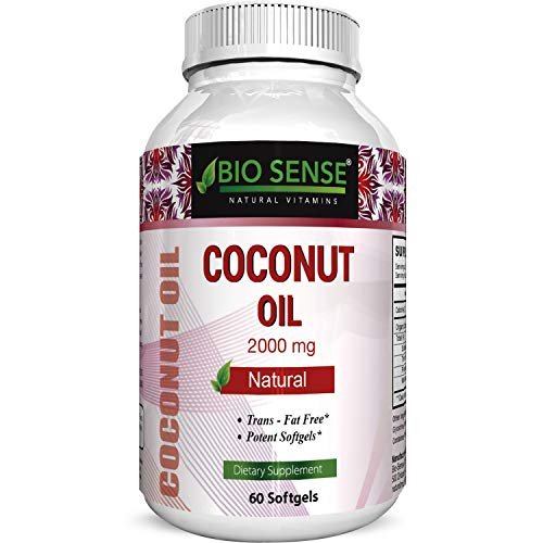 Bio Sense's Pure Organic Coconut Oil  Natural Supplement for Heart Health Supports Normal Blood Sugar & Cholesterol Levels  Cold Pressed & Extra Virgin 2000mg 60 softgels