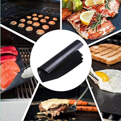 Yardwe 1 tapis de cuisson anti-adhésif pour barbecue au gaz 50 x 40 cm Noir