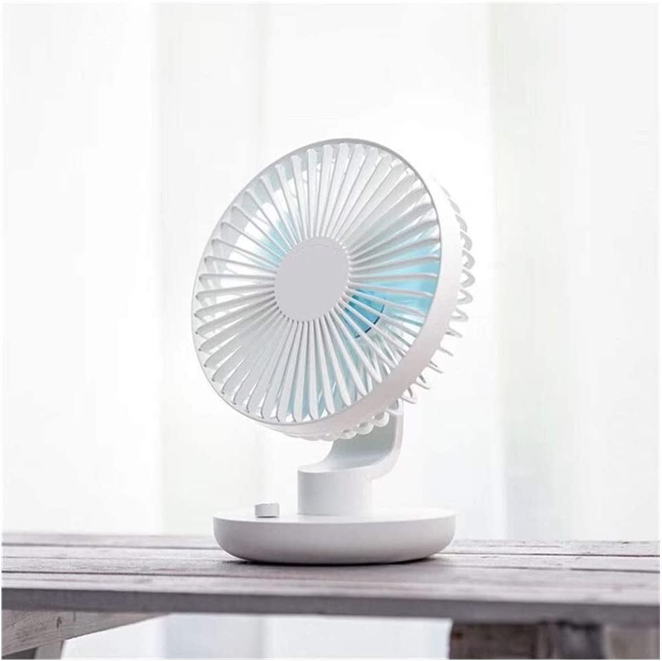 Fan Desktop USB Fan Natural Wind Automatic Shaking Head Rotating Personal Fan Charging Fan Mini Portable Cooling Fan Color : Pink