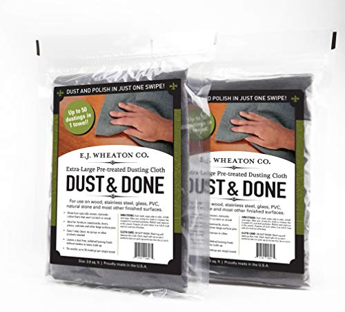 (E.J. Wheaton Co. Dust and Done, Extra Large Pre Treated Dusting Cloth, Dust and Polish in Just One Swipe, for Use on Most Finished Surfaces, Made in USA (2 Cloths))