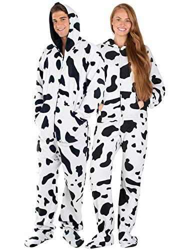 Footed Pajamas - - Cowhide Adult Hoodie Fleece