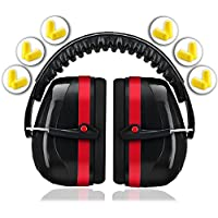 Ear Protection for Shooting Hearing Protector Muffs | Maximum Noise Cancelling Headphones for Mowing Kids Gun Range Soundproof | Bonus 6 Pair of Best Safety Ear Plugs by EarMuffs Armor Baby Toddler