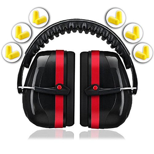 hooting Hearing Protector Muffs | Maximum Noise Cancelling Headphones for Mowing Kids Gun Range Soundproof | Bonus 6 Pair of Best Safety Ear Plugs by EarMuffs Armor Baby Toddler ()