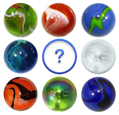 OnlineScienceMall Set of 8 Jumbo 1.4 Inch Mega Marbles Bundle & 1 BONUS 35mm Mystery Marble w 9 Stands - Set C