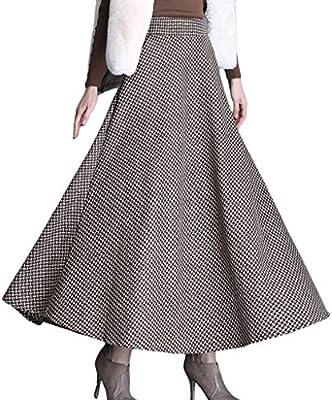 Yujingc Falda Larga de Cuatro Estaciones para Mujer Falda de Lana ...