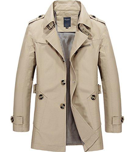 Midoly Men's Cotton Lightweight Jacket Single-Breasted Turn-Down Collar Casual Wear Windbreaker Trench Coat(Light Khaki,US M,Asian 3XL)