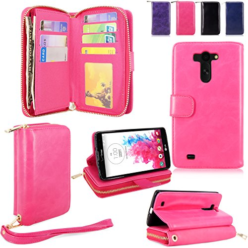 For LG G Vista Case - Cellularvilla Pu Leather flip Wallet Bag Pouch Case with Credit Card Slots Pockets Cover For LG G Vista VS880 (Verizon / AT&T) (Hot Pink1)