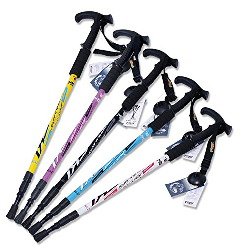 Collapsible Hiking Trekking Trail Poles For Walking Climbing - Ultralight Adjustable Height Anti-Shock