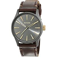 Nixon Men's Sentry 38 A377595 Brown Leather Quartz Watch