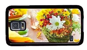 Hipster Samsung Galaxy S5 Cases designer flower basket PC Black for Samsung S5