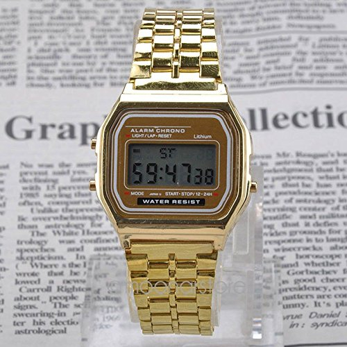 Vintage Womens Men Stainless Steel Square LED Digital Alarm Stopwatch Wrist Watch Free Shipping relogio masculino GOLD