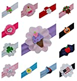 Girls 13 Piece Holiday Baby and Toddler Cotton Headband Set - Fits ages 6 Months to 3 Years