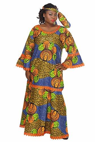 African Planet Women's Dress Queen Wedding Inspired Maxi with Gele headwrap