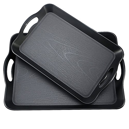 Fecihor Set of 2 Pieces Multi-Purpose Rectangular Anti Slip Waterproof Plastic Serving Tray with Wide Handle, Black 16.5'' x 11'' and 14.5'' x 9'' - Plastic 2 Piece Handle